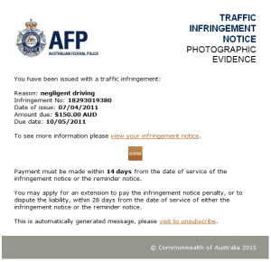 AFP Cryptolocker Email sample