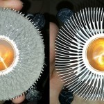 Before and after photo of an overheating computer with blocked Heat Sink.